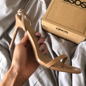 Nude Skinny Heel, Clear Thick Heel, Black Strap Up